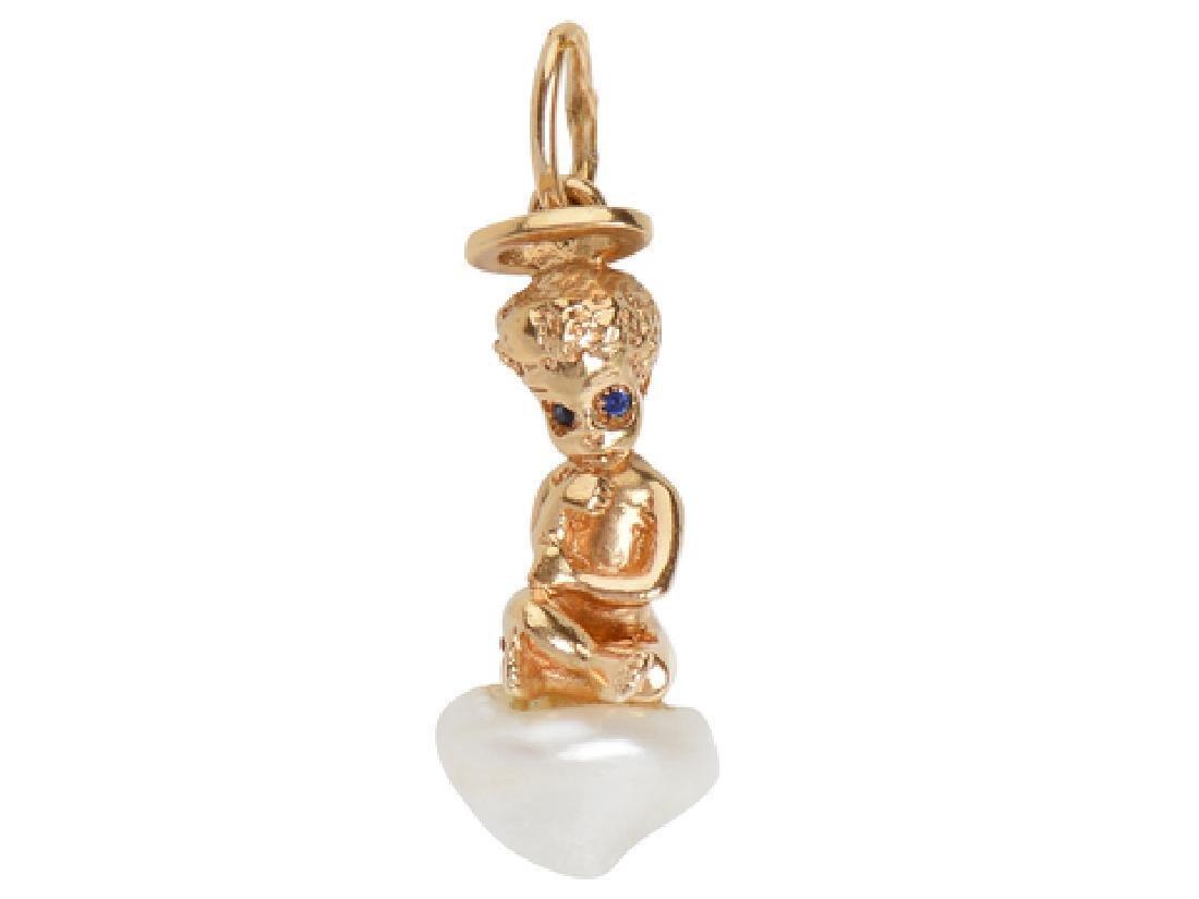 Ruser Bejeweled Cherub Charm Pendant
