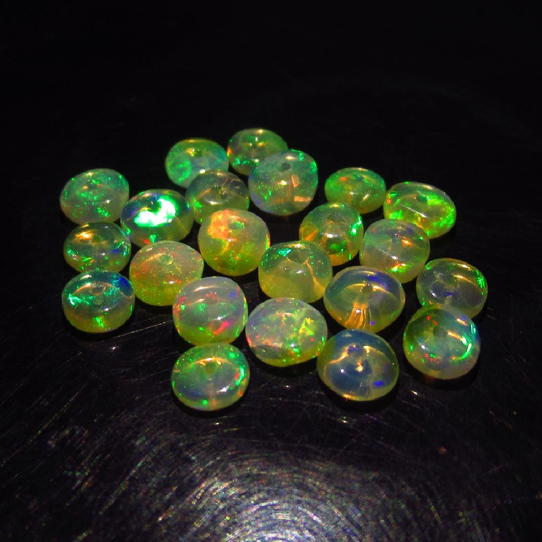 4.45 Ct Genuine 22 Drilled Multi-Color Fire Round Opal