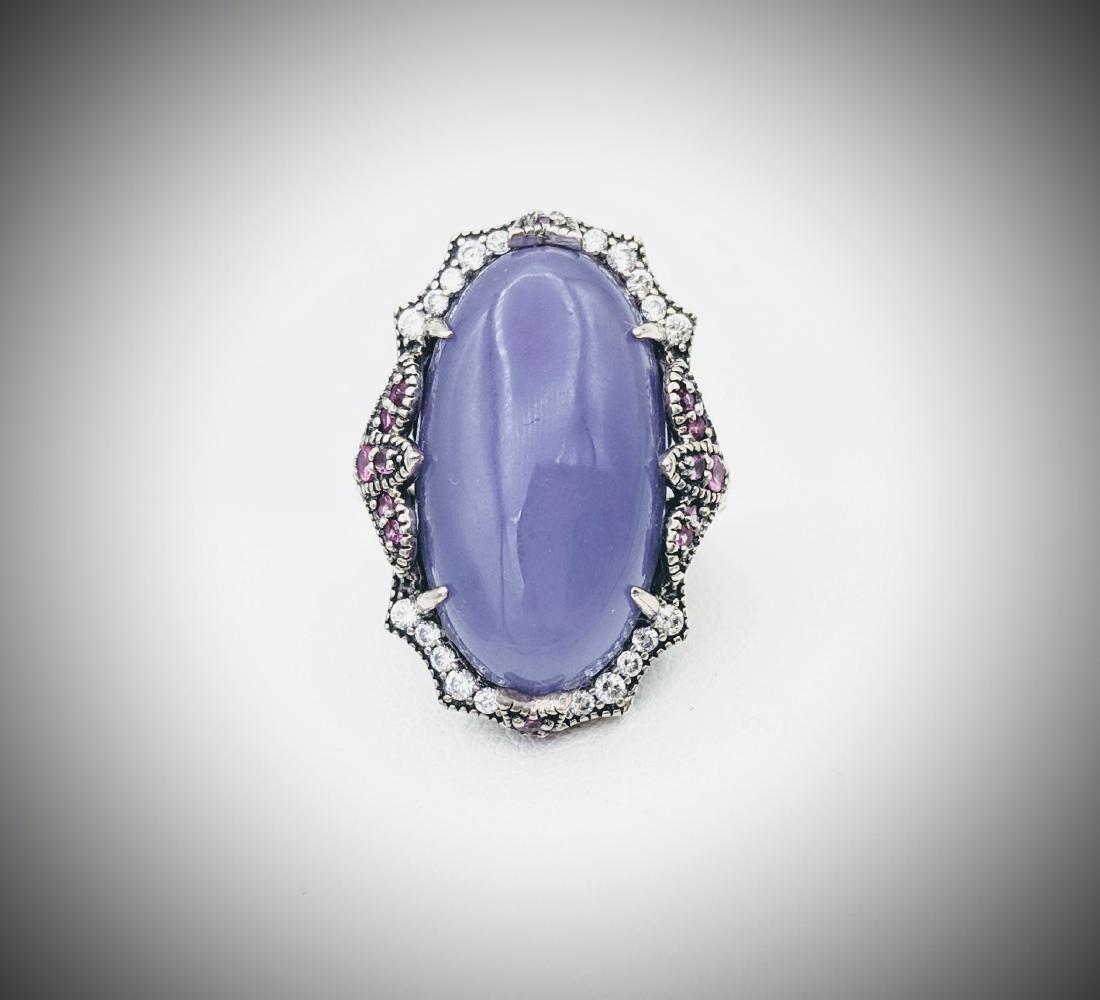925 SS Sz 7 Violet Jade Cocktail Ring w Pink Amethyst &