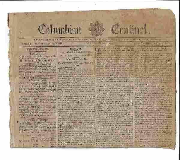 1795 Columbian Centinel Newspaper Treaty with Britain