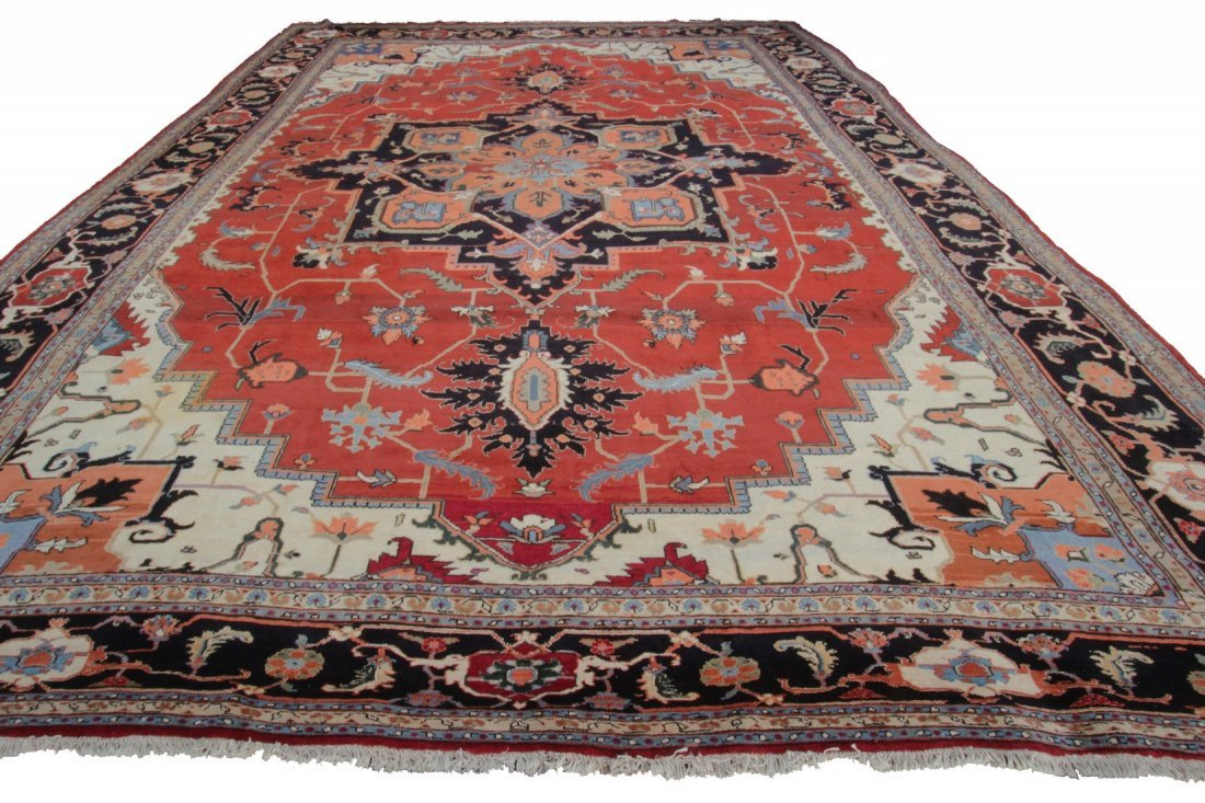 Rare Authentic Vintage Persian Heriz Serapi Rug