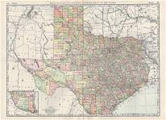 Large & Scarce Bus. Map of Texas, 1892