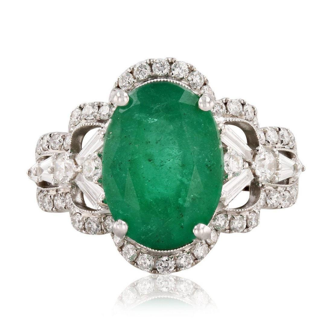 4.10ct Emerald and 1.15ctw Diamond 18KT White Gold Ring