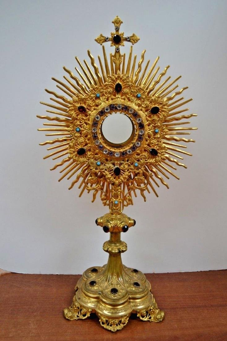 "Fine Older Traditional Monstrance with Stones  23"" ht."