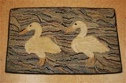 DETAILED SEMI ANTIQUE AERICAN HOOKED RUG 2' x 3' HAND