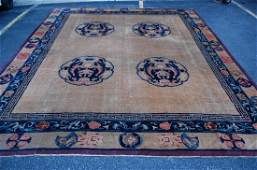 MID 1800s ANTIQUE FIVE CLAWED CHINESE DRAGON RUG