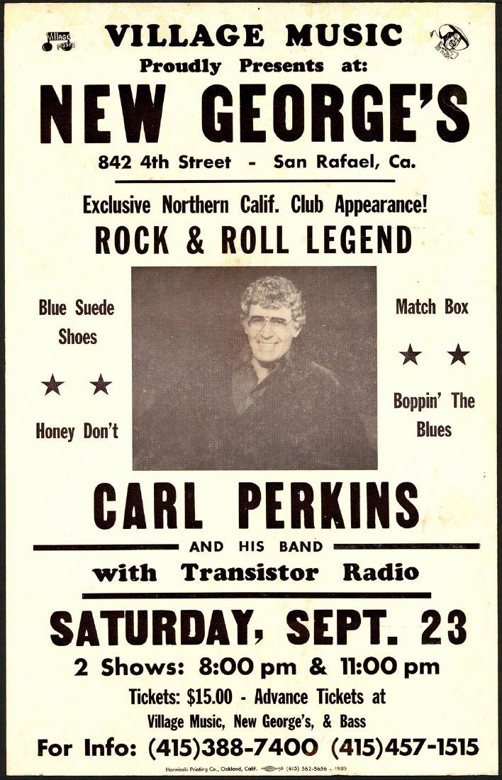 Carl Perkins At New George's Poster