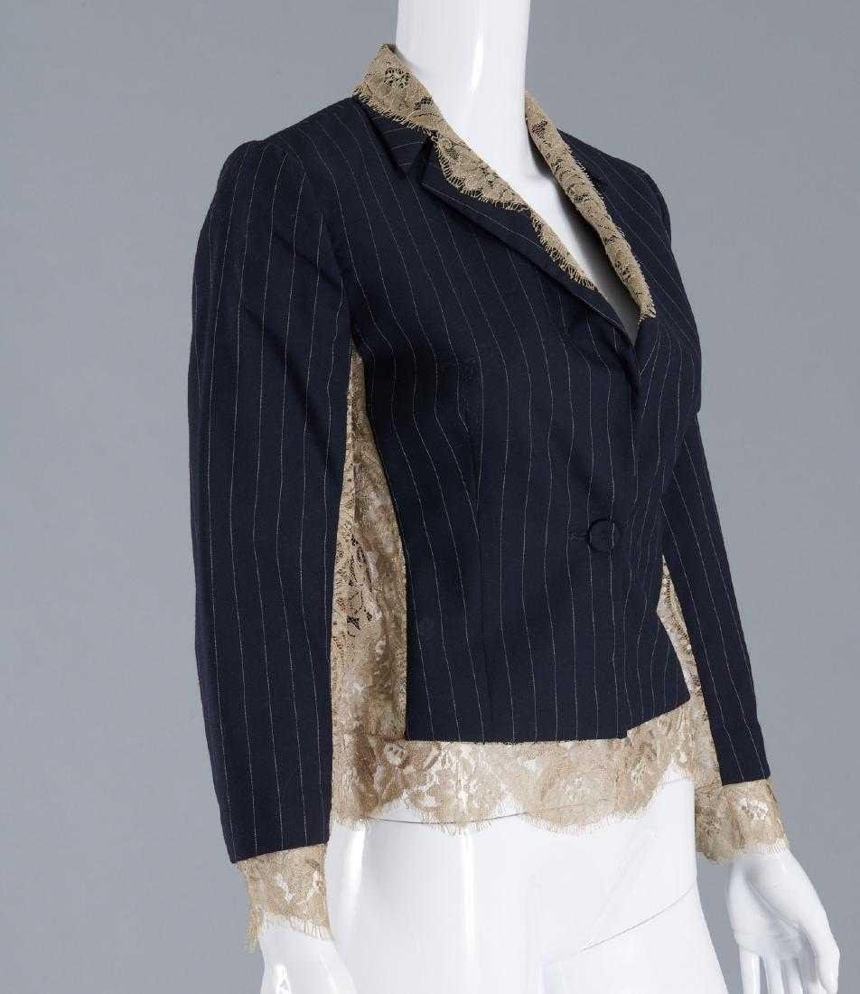 GIANFRANCO FERRE Navy Pinstripe Tropical Wool & Lace - 3