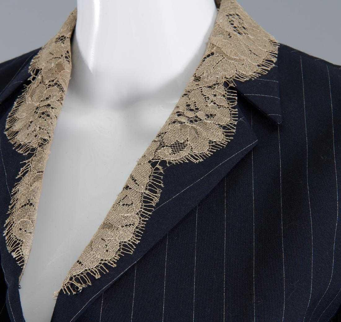GIANFRANCO FERRE Navy Pinstripe Tropical Wool & Lace - 5