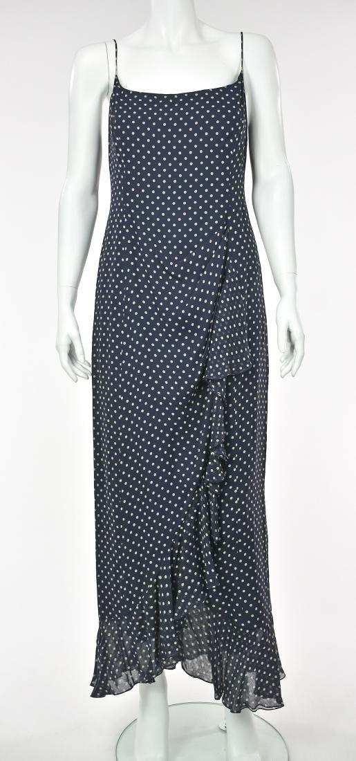 MELINDA ENG Navy Blue Chiffon Maxi Dress