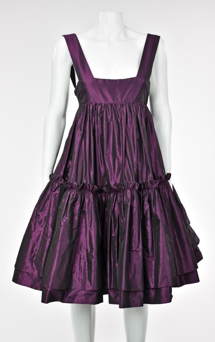 KATY RODRIGUEZ Purple Silk Taffeta Runway Dress