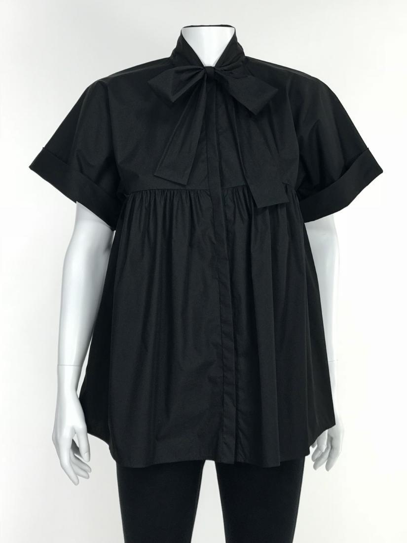 BRIONI Black Artist's Smock Style Blouse RETAIL $1116