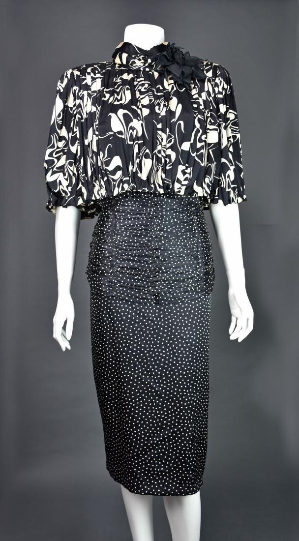Rare Vintage 1980s SAINT ROMEI Black & Ivory Silk Dress