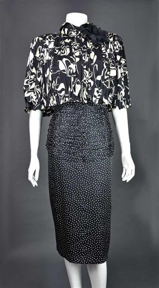 edc387f7 Rare Vintage 1980s SAINT ROMEI Black & Ivory Silk Dress