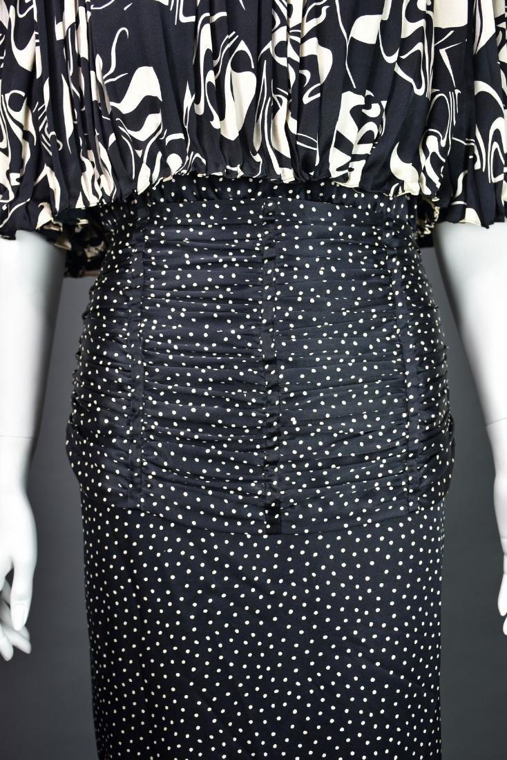 Rare Vintage 1980s SAINT ROMEI Black & Ivory Silk Dress - 2