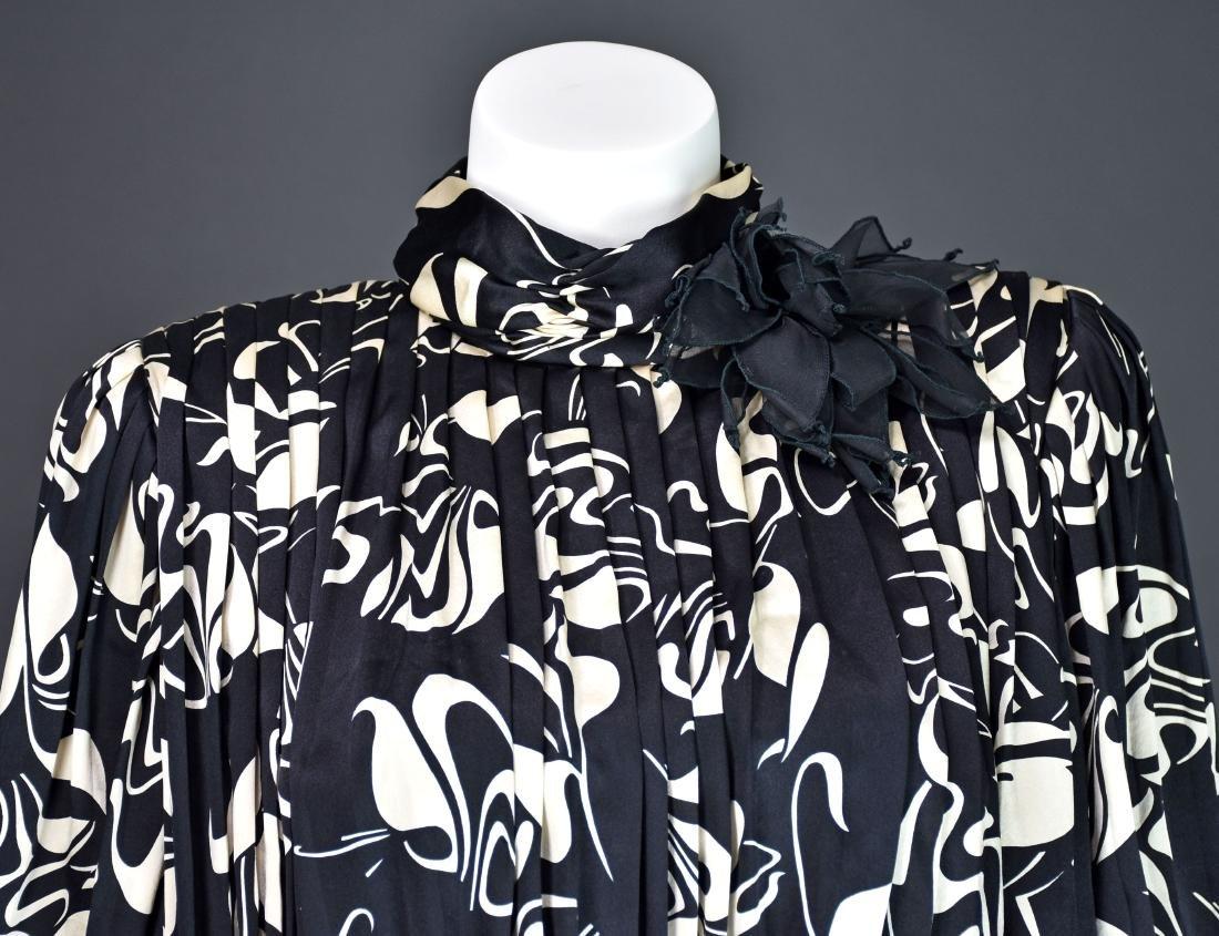 Rare Vintage 1980s SAINT ROMEI Black & Ivory Silk Dress - 3