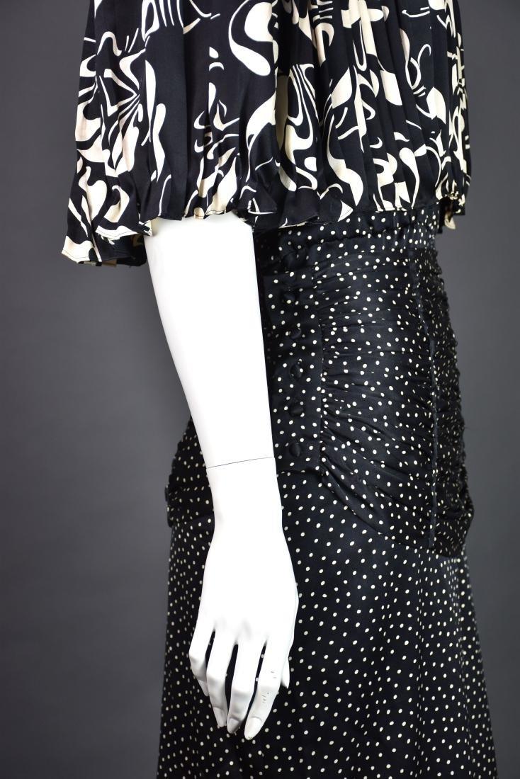 Rare Vintage 1980s SAINT ROMEI Black & Ivory Silk Dress - 4