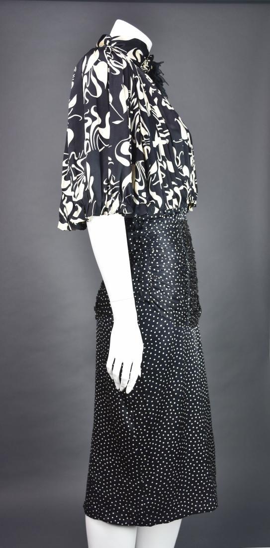 Rare Vintage 1980s SAINT ROMEI Black & Ivory Silk Dress - 5