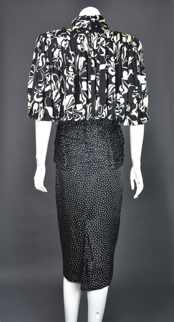 Rare Vintage 1980s SAINT ROMEI Black & Ivory Silk Dress - 6
