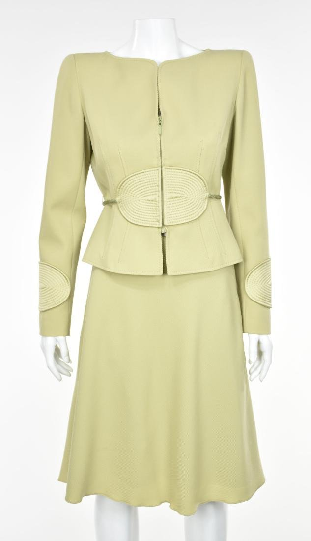 VALENTINO Vintage 1980s Lime Green Skirt Suit