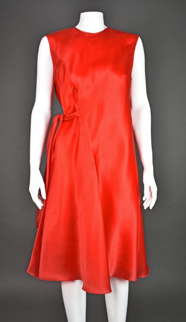 JACKIE ROGERS Red Silk Organza Dress