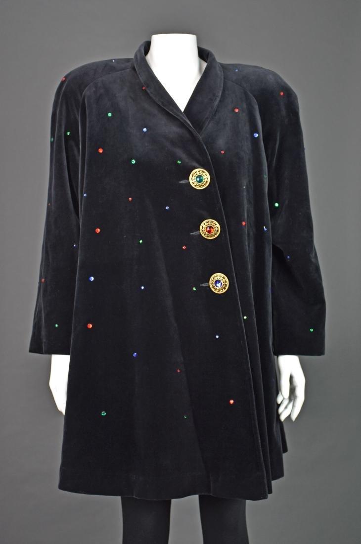 J.L. deBALL Vintage Black Velveteen Swing Coat