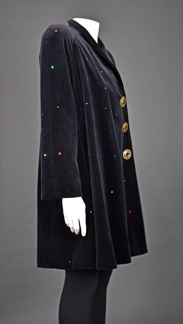 J.L. deBALL Vintage Black Velveteen Swing Coat - 3