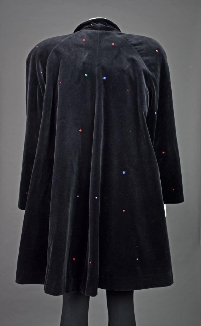 J.L. deBALL Vintage Black Velveteen Swing Coat - 4