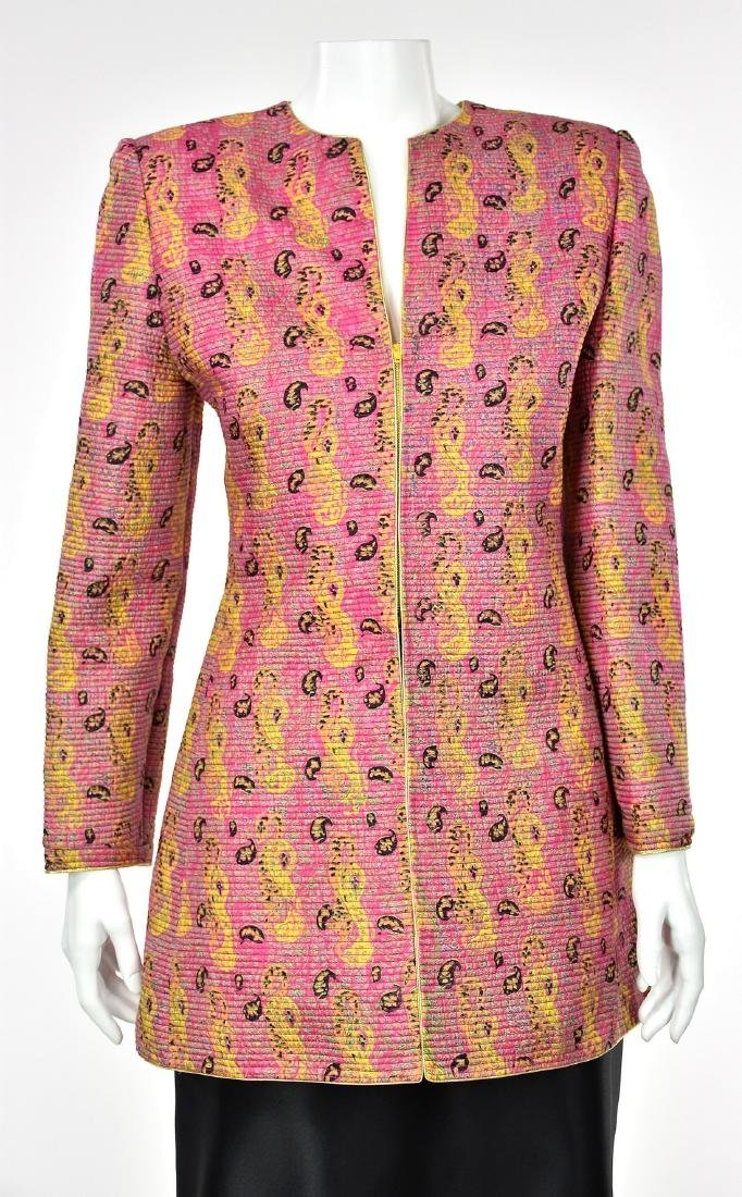MARY MCFADDEN COUTURE Channel Quilted Pink Silk Jacket