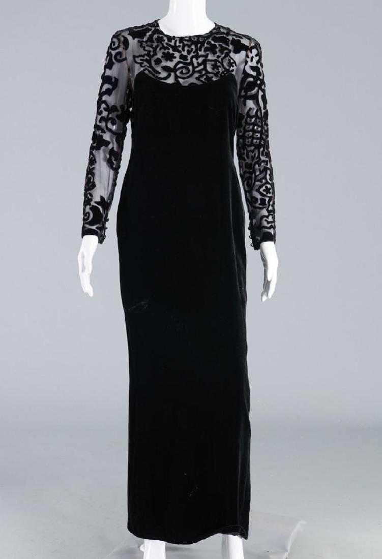 BILL BLASS Silk Velvet Illusion Bodice Evening Dress