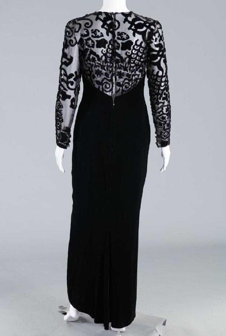 BILL BLASS Silk Velvet Illusion Bodice Evening Dress - 4