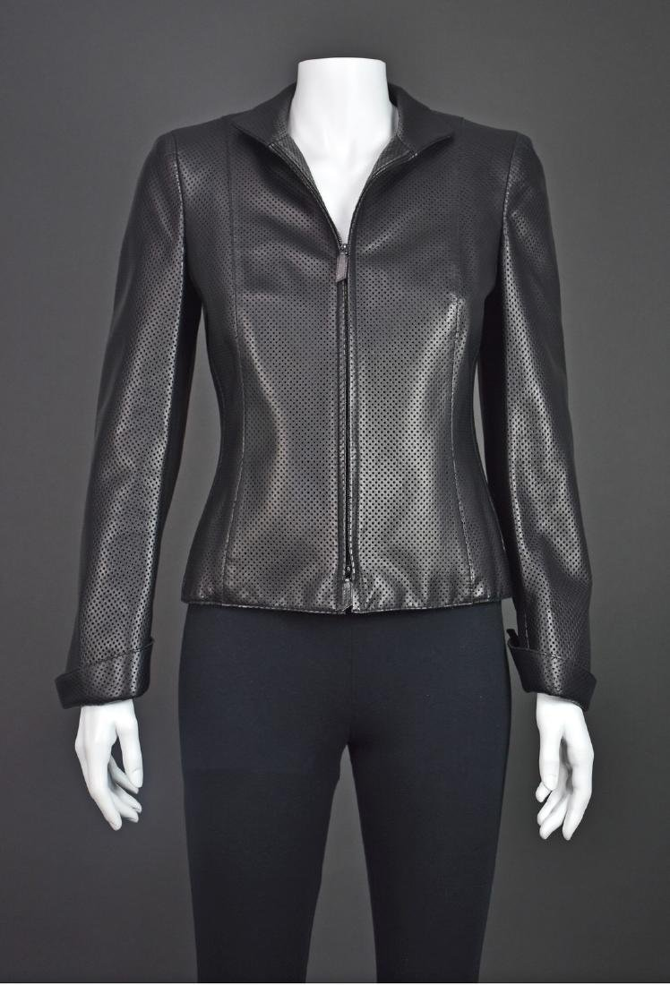 AKRIS Black Perforated Lambskin Jacket