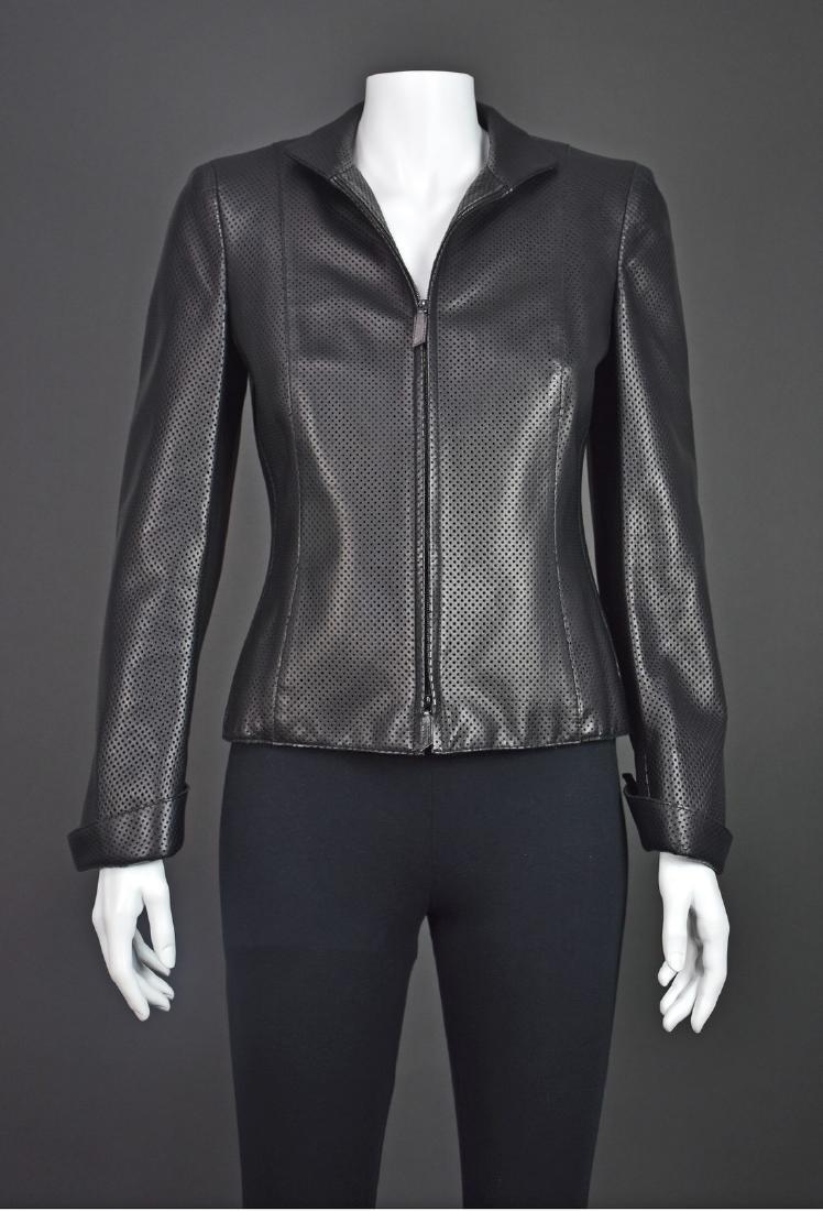 AKRIS Black Perforated Lambskin Jacket