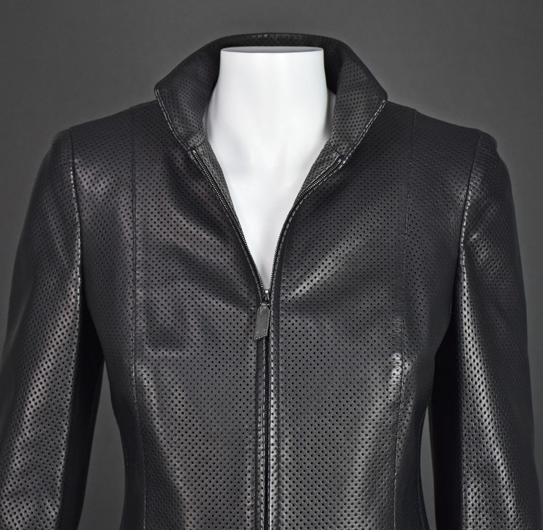 AKRIS Black Perforated Lambskin Jacket - 2