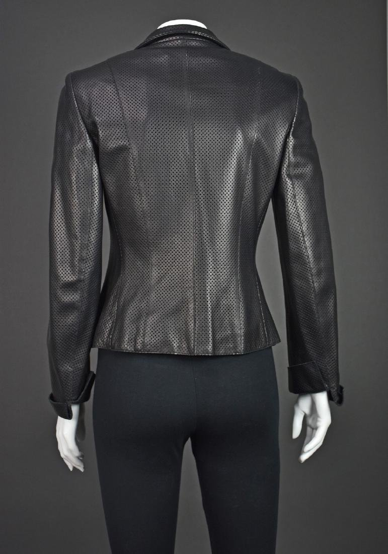 AKRIS Black Perforated Lambskin Jacket - 4