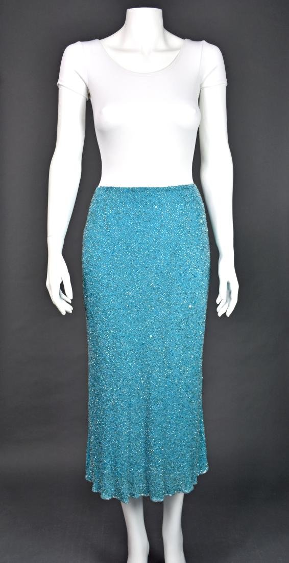 MONSOON Turquoise Silk Beaded Midi Skirt