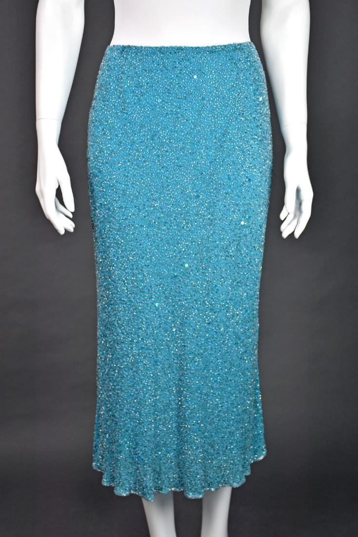 MONSOON Turquoise Silk Beaded Midi Skirt - 2