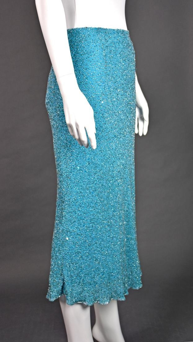 MONSOON Turquoise Silk Beaded Midi Skirt - 4