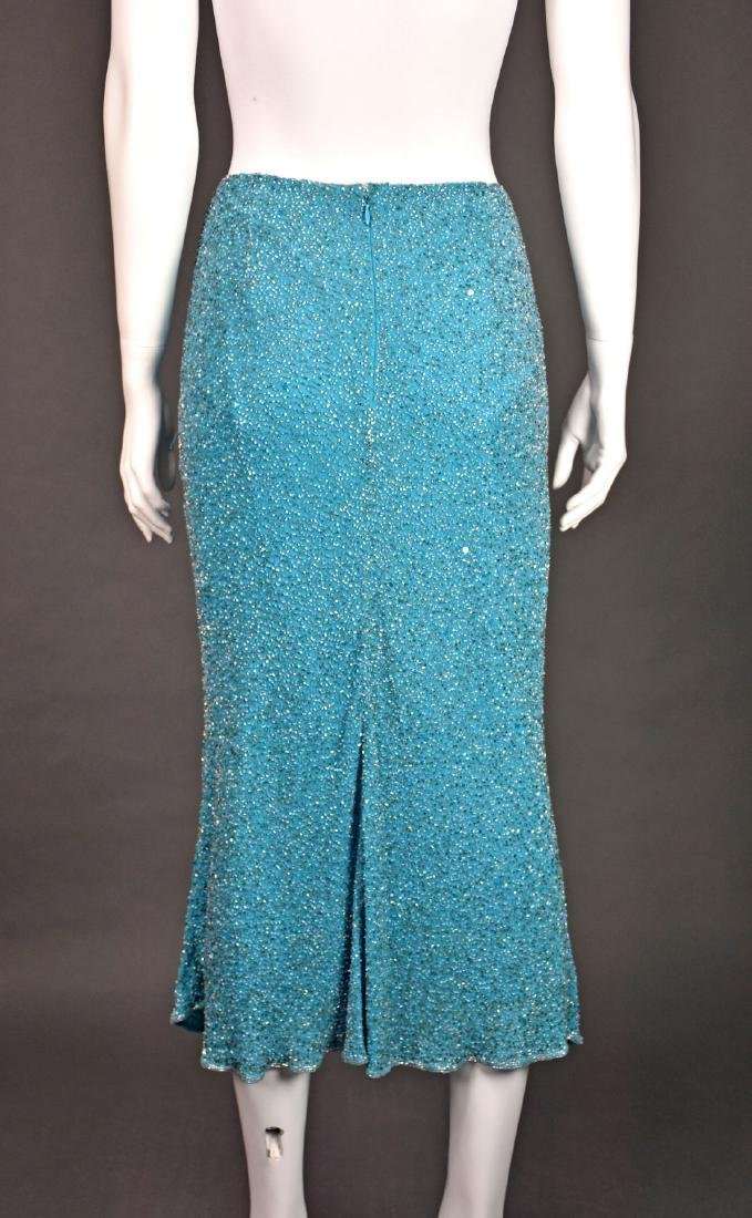 MONSOON Turquoise Silk Beaded Midi Skirt - 5