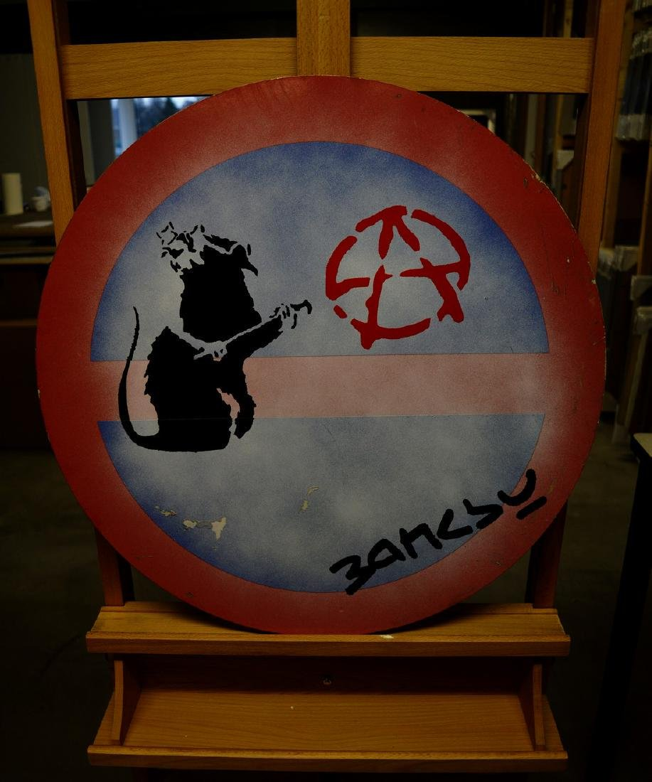 BANKSY, after - Metal Road Sign - Anarchy Rat