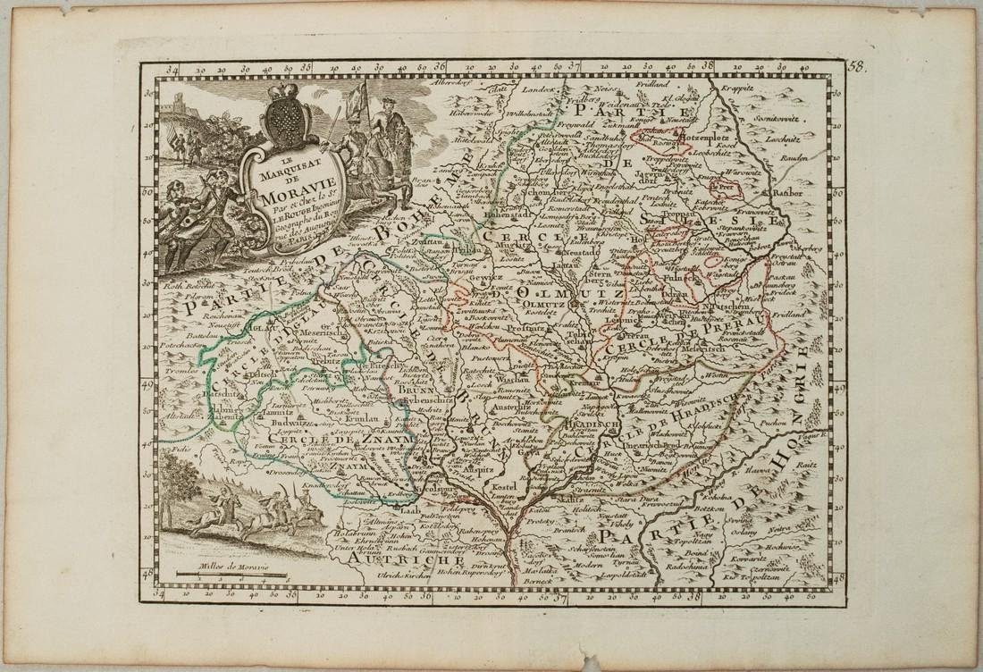 1743 Le Rouge Map of Southern Czech Republic (Moravia)