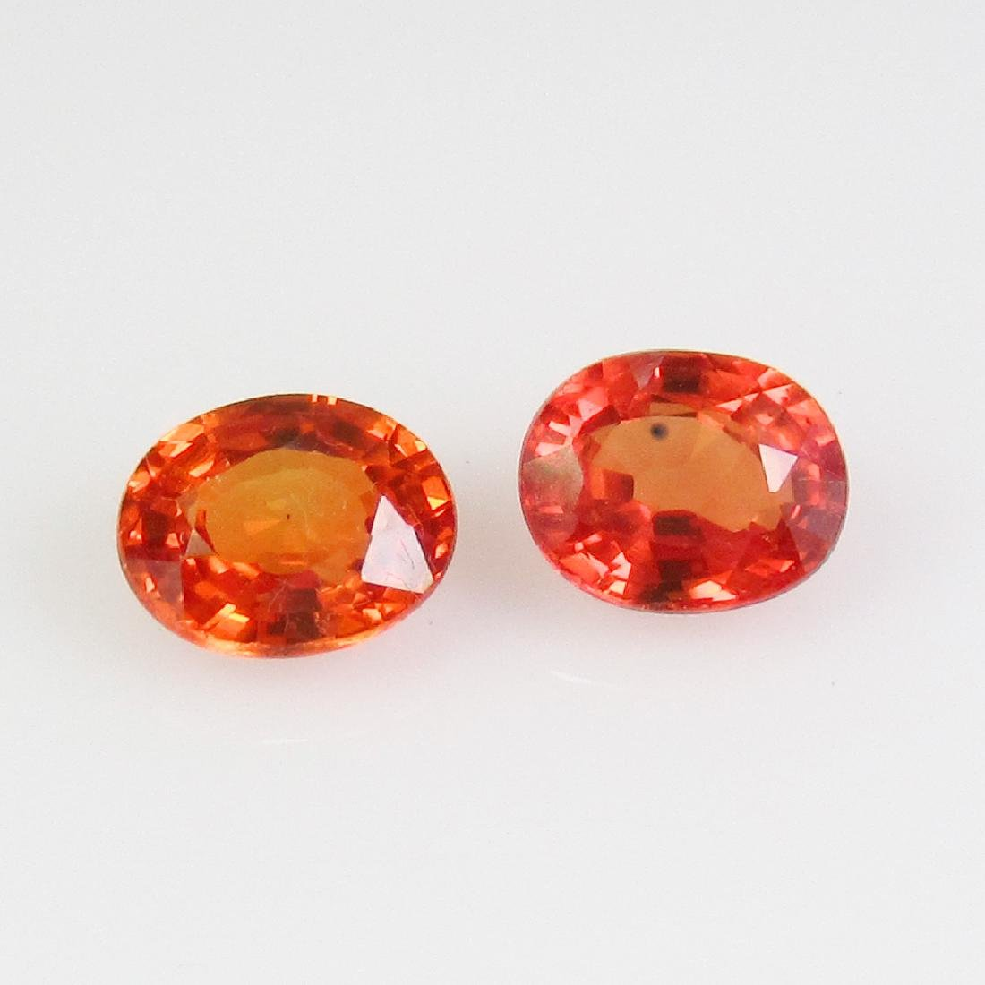 1.01 Ct Genuine Orange Sapphire 5x4 mm Oval Pair