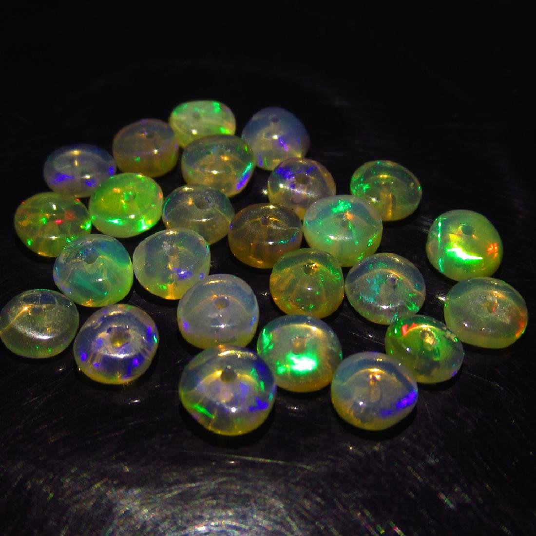 5.34 Ct Genuine 25 Drilled Multi-Color Fire Round Opal
