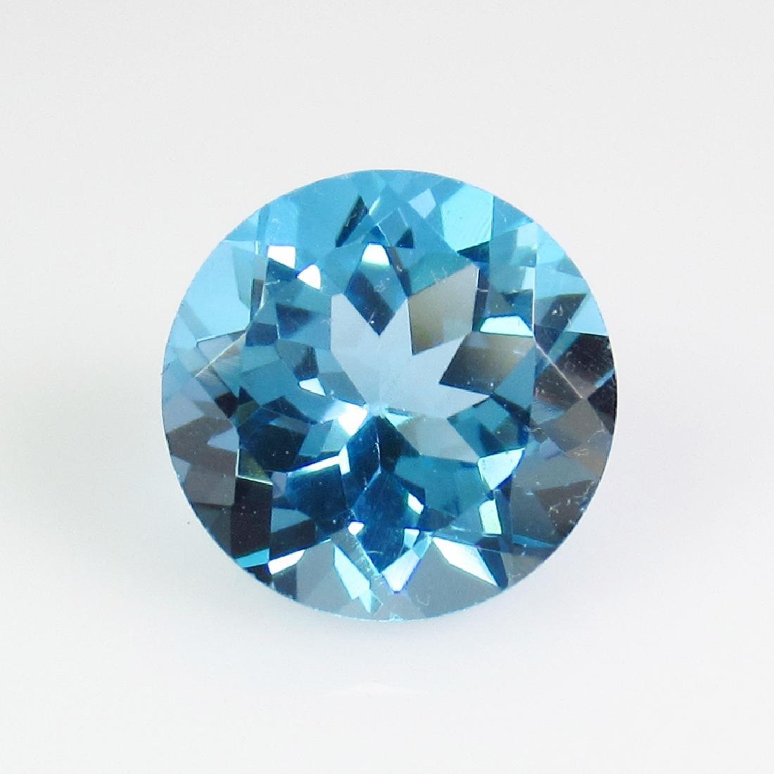 2.95 Ct Genuine Swiss Blue Topaz 9 mm Round Cut