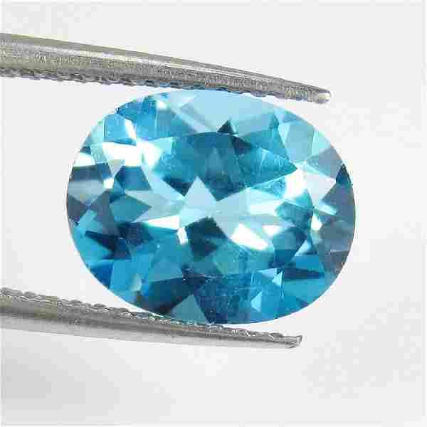 3.38 Ct Genuine Swiss Blue Topaz 10X8 mm Oval Cut