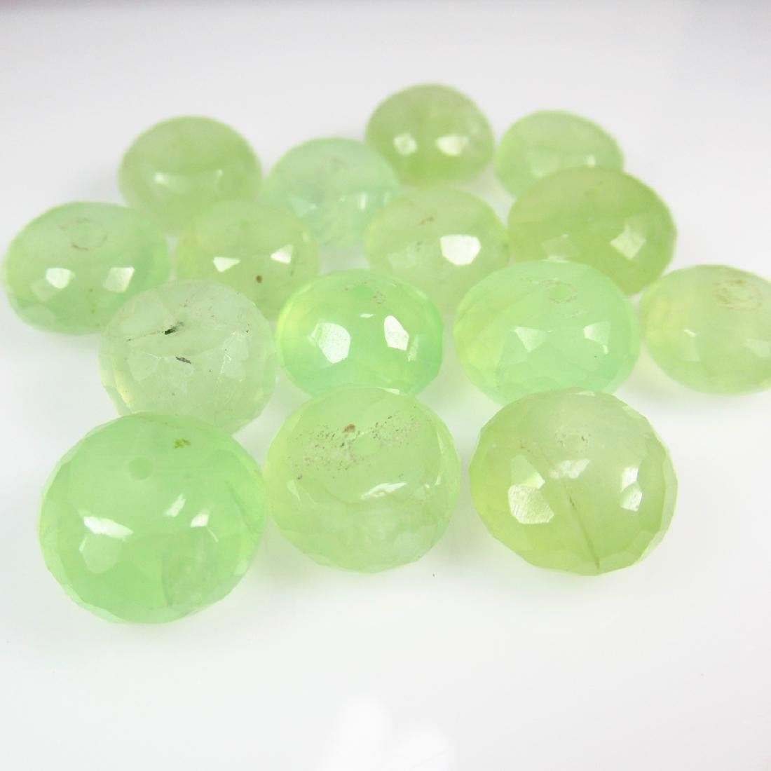 99.10 Ct Genuine 15 Prehnite Drilled Round Beads