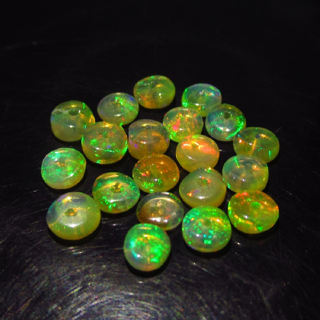3.74 Ctw Natural 25 Ethiopian Drilled Round Fire Opal