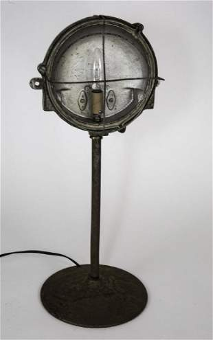 FRENCH INDUSTRIAL MODERNIST FACTORY DESK LAMP CAGED
