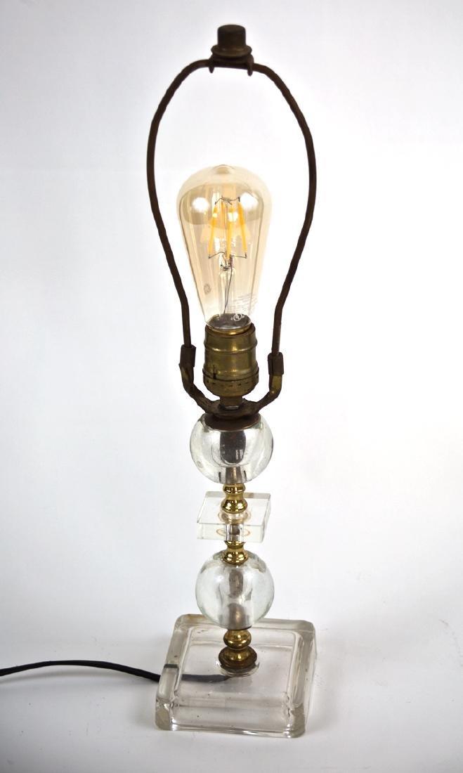 FRENCH ART DECO modernist Glass DESK LAMP ADNET 2 round