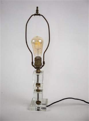 FRENCH ART DECO modernist Glass DESK LAMP ADNET 1